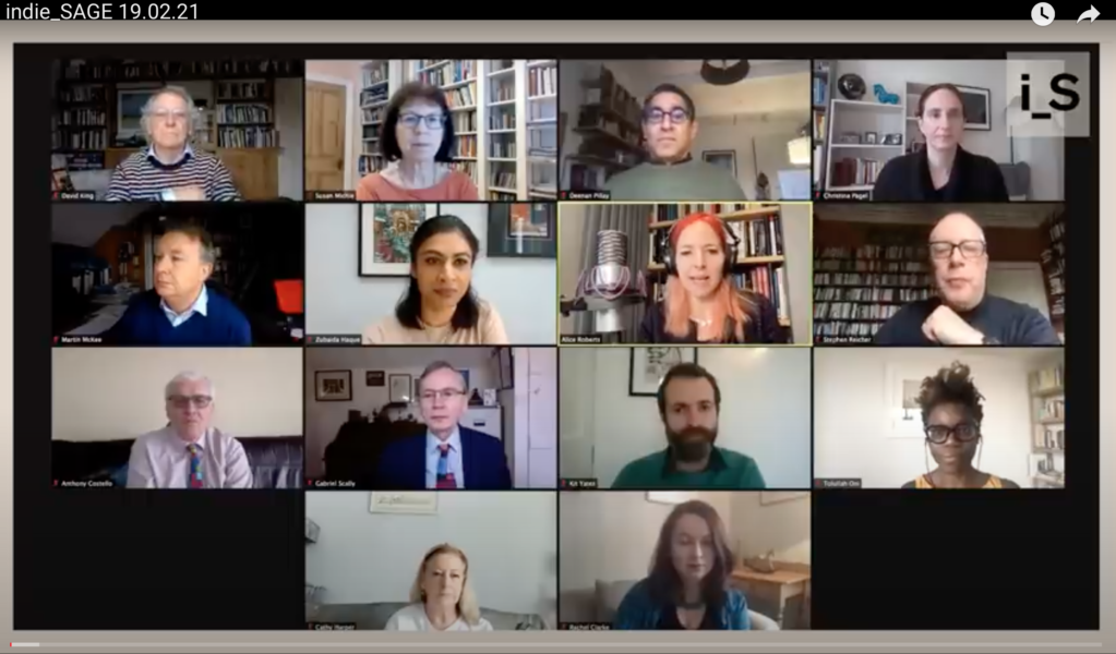 screen shot of 14 faces on a video briefing for Independent SAGE committee